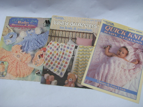 Large lot knit & crochet for baby pattern books, 50s thru 90s vintage