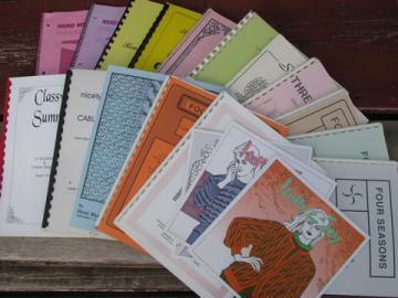 Large lot knitting machine books, sweater patterns, cable/tuck stitches