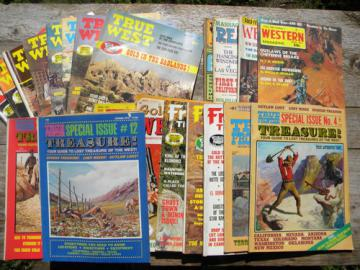 Large lot of old 1970s western & treasure magazines True West, etc.