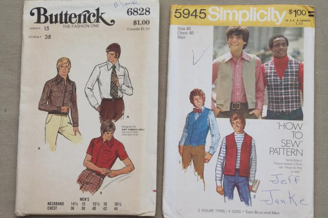 large lot vintage sewing patterns, disco retro 70s men's fashion styles young & hip