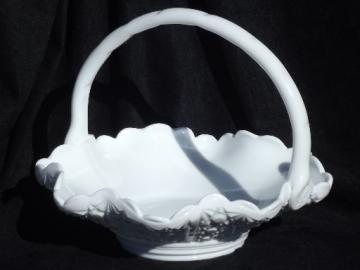 Large milk glass  basket, vintage daisy & button pattern glass
