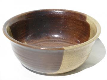 Large rough earthenware two-tone bowl, modern artist signed pottery