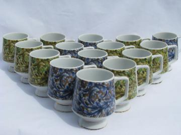 Large set mid-century mod 60s vintage coffee mugs, retro paisley print