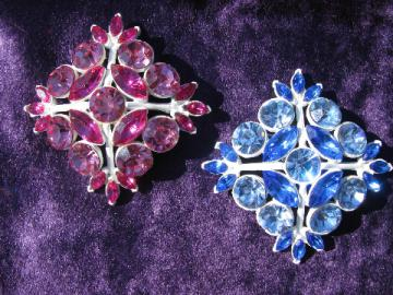 Large square pin back brooches, pink & blue rhinestones, vintage costume jewelry
