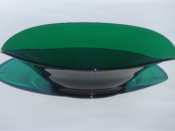 Large Viking Epic bowl w/ mod shape, vintage forest green glassware