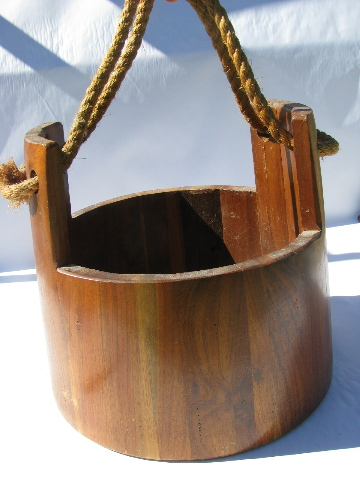 Large Vintage Staved Wood Bucket W Primitive Rope Handle