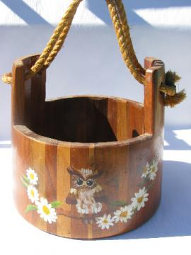 Large vintage staved wood bucket w/ primitive rope handle, hand-painted owls
