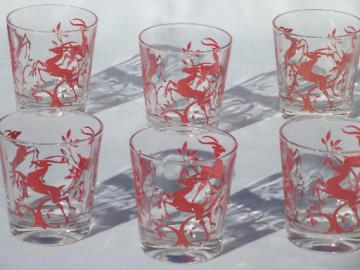 Leaping gazelle deer in red, 1950s vintage glass tumblers, bar glasses set