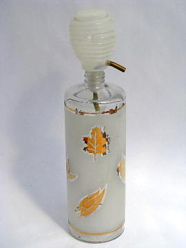 Libbey golden foliage gold leaf pattern glass decanter bottle, 60s retro