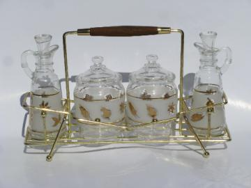 Libbey golden foliage vintage glass condiment set - mustard pot, cruet bottles