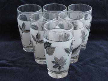 Libbey Rock Sharpe, vintage Silver Foliage glass tumblers