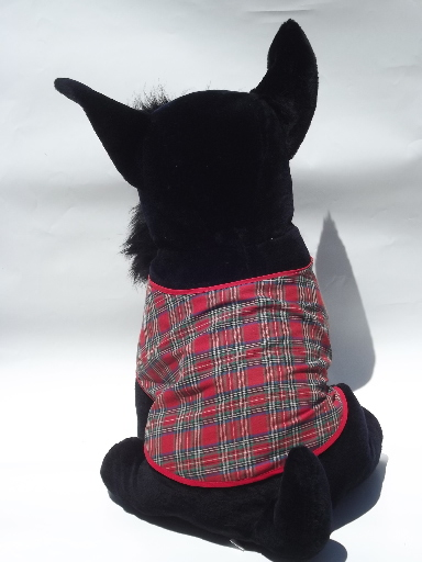 Life size toy Scotty dogs, large stuffed animal Scotties, one w/ plaid coat