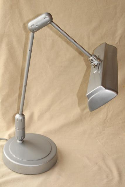 lightolier vintage Swivelier drafting table work light, industrial metal floating arm lamp