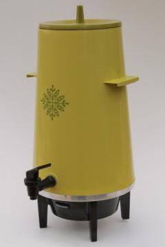 lime green 70s West Bend 20 cup pot electric coffee maker, party perk vintage percolator