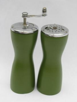 Lime green danish mod vintage pepper grinder & salt shaker, 60s retro