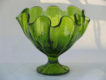 Lime green ruffled edge art glass pedestal bowl, 60s vintage
