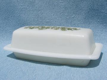 Lime green & white crazy daisy / spring blossom Pyrex butter dish