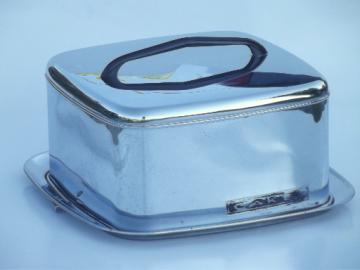 Lincoln BeautyWare vintage chrome cake carrier, cake cover & latching plate