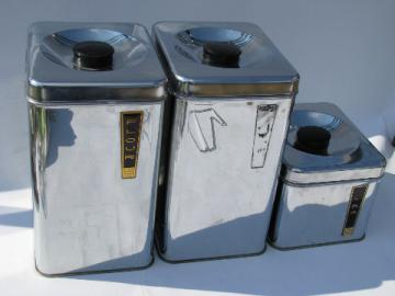 Lincoln BeautyWare vintage chrome canisters, 1950s retro kitchen!