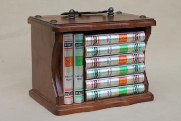 little library of drinks coasters, vintage cork wood coaster set in wood 'bookcase'