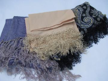Long silky fringed evening scarves, vintage 50s silk scarf lot, peach, dusk blue