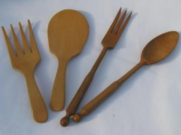 Long & thin, short & fat, retro mod vintage wood salad servers