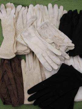Lot 14 pairs 1950s-60s vintage gloves, leather & cloth, long & short