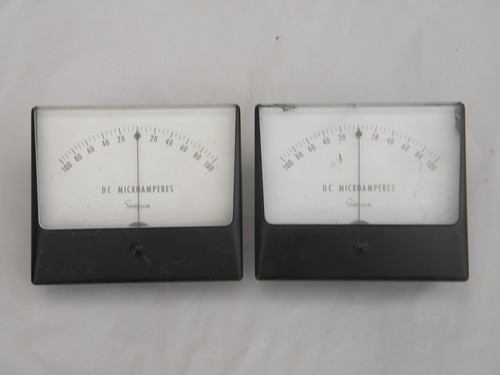 Lot 2 vintage Simpson DC electric microamp panel meters +100/-100 amps