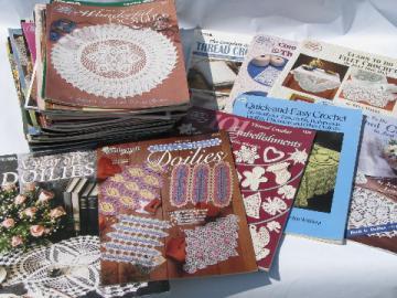 Lot 50+ crochet pattern books, 100s crocheted doilies & lace patterns
