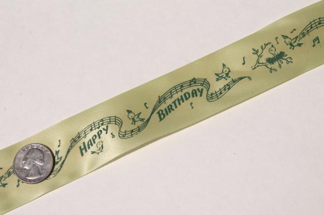 lot 50s vintage Happy Birthday print gift package ribbons, rolls of florists ribbon