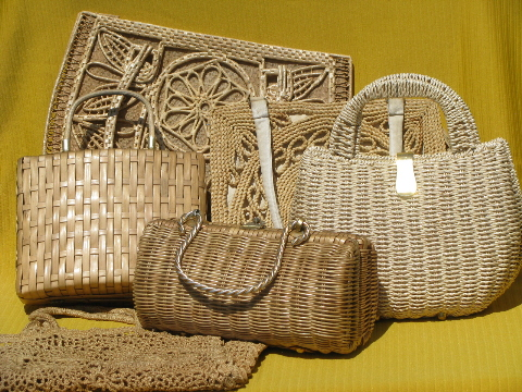 Lot 60s-70s vintage natural color straw purses, crochet bags and totes