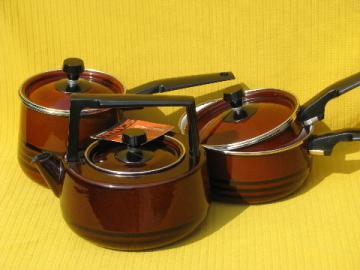 Lot 70s danish modern style pots and pans, Scandia West Bend, orig tag