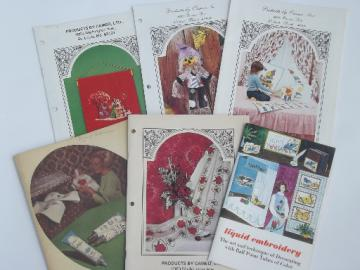 Lot 70s vintage craft catalogs, paint embroidery designs, retro wall art etc.
