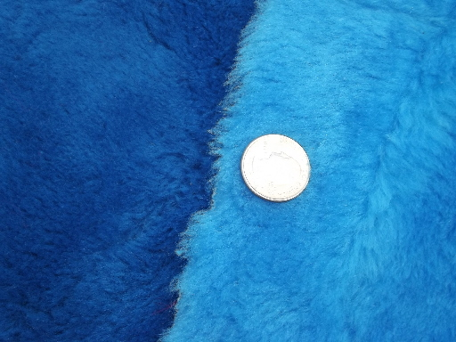 Lot 70s vintage furry shag pile fake fur fabric, bright retro colors