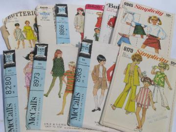 Lot 70s vintage sewing patterns, girls retro hippie pants, tops etc.