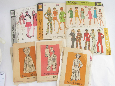 Lot 70s vintage sewing patterns, retro hippie pants, tops, dresses