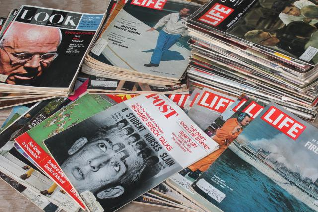 lot 75 vintage 60s 70s vintage Post, Look, Life magazines, pop culture celebs & retro ads