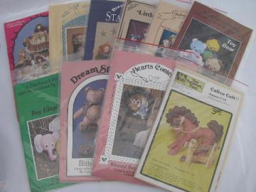 Lot 80s-90s small press sewing patterns, toys, bears, stuffed animals