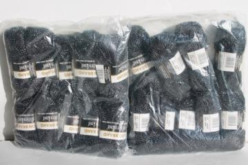 lot Lion glitter knit yarn, black / silver lurex metallic thread acrylic for knitting crochet