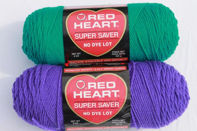 lot Red Heart Super Saver acrylic yarn, big jumbo skeins, cool blue, grey, purple, mint green