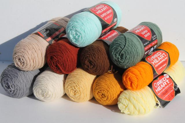 lot Red Heart Super Saver acrylic yarn, big jumbo skeins, metro / hipster colors