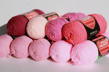 lot Red Heart Super Saver acrylic yarn, big jumbo skeins, rose, pink, mauve