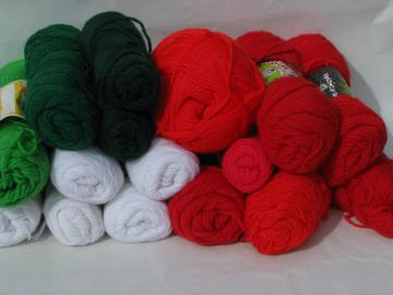 Lot acrylic yarn skeins, 2 lbs assorted red and green for Christmas