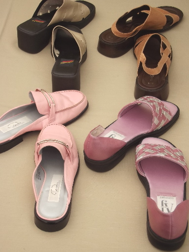 Lot almost new retro look summer shoes size US 6, slides, mules, sandals