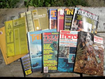 Lot assorted old treasure hunting magazines, gold, silver, relics etc.