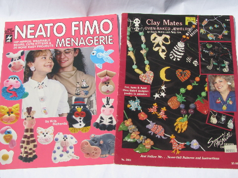 Lot clay craft books & fimo booklets, jewelry & beads how-to patterns