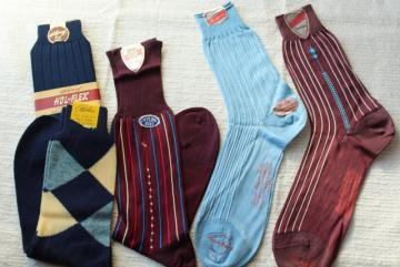 lot new old stock 40s 50s vintage men's socks new w/ labels, argyle & striped nylon socks