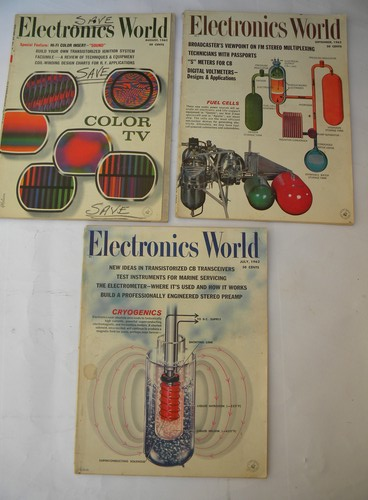 Lot of 1962 Electronics World magazines w/graphics&advertising