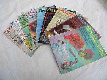 Lot of 1964 Electronics World magazines w/graphics & advertising
