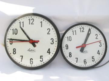 Lot of 2 of vintage industrial Lathem schoolhouse wall slave clocks